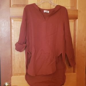 Peach Love California Hi-lo tunic top NWOT